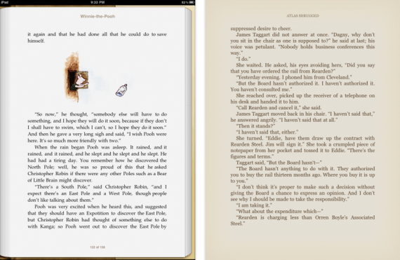 iBooks (left) and Kindle.app (right)